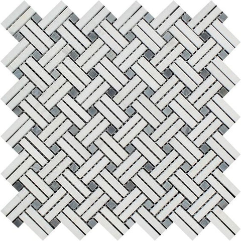 Thassos White Marble Polished Stanza Basketweave Mosaic Tile w/ Blue-gray Dots