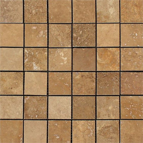2 X 2 Noce Travertine Honed Mosaic Tile - American Tile Depot - Shower, Backsplash, Bathroom, Kitchen, Deck & Patio, Decorative, Floor, Wall, Ceiling, Powder Room, Indoor, Outdoor, Commercial, Residential, Interior, Exterior