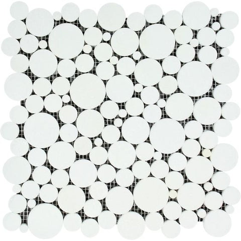 Thassos White Marble Polished Bubbles Mosaic Tile