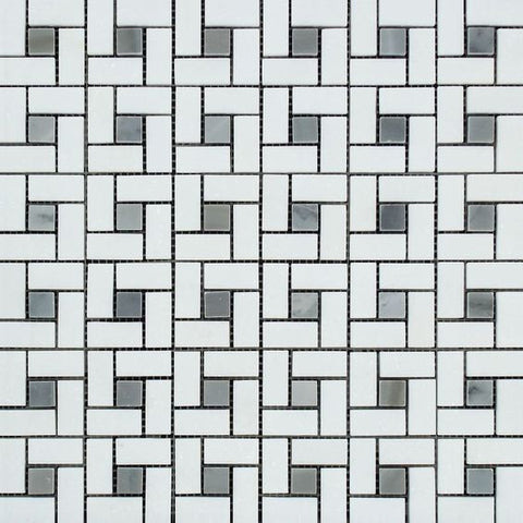 Thassos White Marble Polished Pinwheel Mosaic Tile w/ Blue-Gray Dots