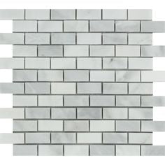 1 x 2 Bianco Venatino (Bianco Mare) Marble Polished Brick Mosaic Tile - American Tile Depot - Shower, Backsplash, Bathroom, Kitchen, Deck & Patio, Decorative, Floor, Wall, Ceiling, Powder Room, Indoor, Outdoor, Commercial, Residential, Interior, Exterior