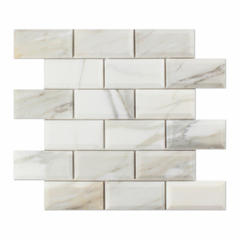 2 X 4 Calacatta Gold Marble Polished & Beveled Brick Mosaic Tile - American Tile Depot - Shower, Backsplash, Bathroom, Kitchen, Deck & Patio, Decorative, Floor, Wall, Ceiling, Powder Room, Indoor, Outdoor, Commercial, Residential, Interior, Exterior