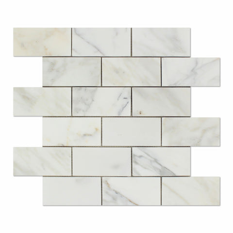2 X 4 Calacatta Gold Marble Polished Brick Mosaic Tile - American Tile Depot - Shower, Backsplash, Bathroom, Kitchen, Deck & Patio, Decorative, Floor, Wall, Ceiling, Powder Room, Indoor, Outdoor, Commercial, Residential, Interior, Exterior