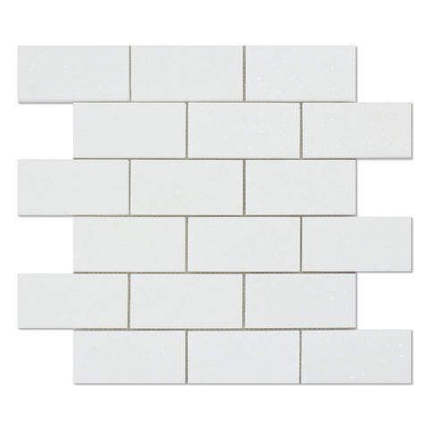 2 X 4 Thassos White Marble Honed Brick Mosaic Tile - American Tile Depot - Commercial and Residential (Interior & Exterior), Indoor, Outdoor, Shower, Backsplash, Bathroom, Kitchen, Deck & Patio, Decorative, Floor, Wall, Ceiling, Powder Room