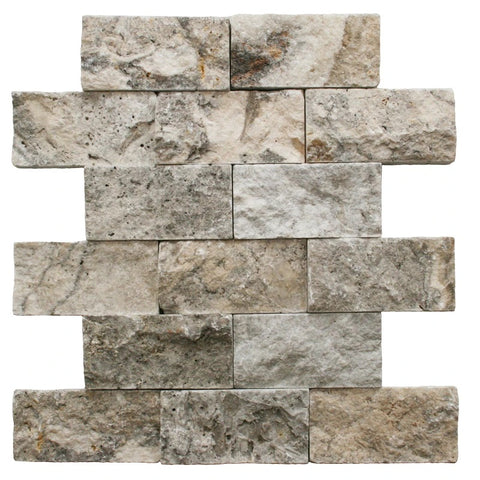 2 X 4 Silver Travertine Split-Faced Brick Mosaic Tile
