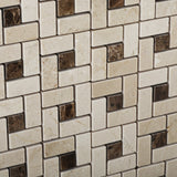 Crema Marfil Marble Polished Pinwheel Mosaic Tile w/ Emperador Dark Dots - American Tile Depot - Commercial and Residential (Interior & Exterior), Indoor, Outdoor, Shower, Backsplash, Bathroom, Kitchen, Deck & Patio, Decorative, Floor, Wall, Ceiling, Powder Room - 3