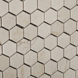 "Crema Marfil Marble Polished 1"" Mini Hexagon Mosaic Tile - American Tile Depot - Commercial and Residential (Interior & Exterior), Indoor, Outdoor, Shower, Backsplash, Bathroom, Kitchen, Deck & Patio, Decorative, Floor, Wall, Ceiling, Powder Room - 3"