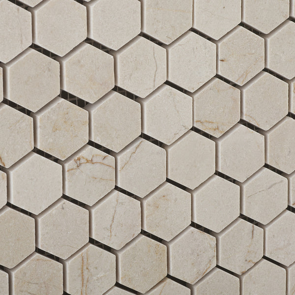 Crema Marfil Marble 1 Mini Hexagon Mosaic Tile Polished