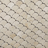 Crema Marfil Marble Polished Fan Mosaic Tile - American Tile Depot - Commercial and Residential (Interior & Exterior), Indoor, Outdoor, Shower, Backsplash, Bathroom, Kitchen, Deck & Patio, Decorative, Floor, Wall, Ceiling, Powder Room - 3