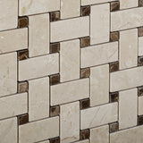 Crema Marfil Marble Polished Basketweave Mosaic Tile w/ Emperador Dark Dots - American Tile Depot - Commercial and Residential (Interior & Exterior), Indoor, Outdoor, Shower, Backsplash, Bathroom, Kitchen, Deck & Patio, Decorative, Floor, Wall, Ceiling, Powder Room - 3