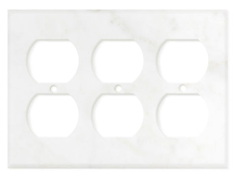 Italian Calacatta Gold Marble Triple Duplex Switch Wall Plate / Switch Plate / Cover - Honed - American Tile Depot - Commercial and Residential (Interior & Exterior), Indoor, Outdoor, Shower, Backsplash, Bathroom, Kitchen, Deck & Patio, Decorative, Floor, Wall, Ceiling, Powder Room