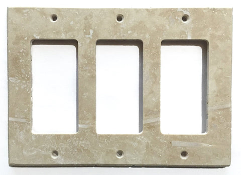 Ivory Travertine Triple Rocker Switch Wall Plate / Switch Plate / Cover - Honed - American Tile Depot - Commercial and Residential (Interior & Exterior), Indoor, Outdoor, Shower, Backsplash, Bathroom, Kitchen, Deck & Patio, Decorative, Floor, Wall, Ceiling, Powder Room - 1
