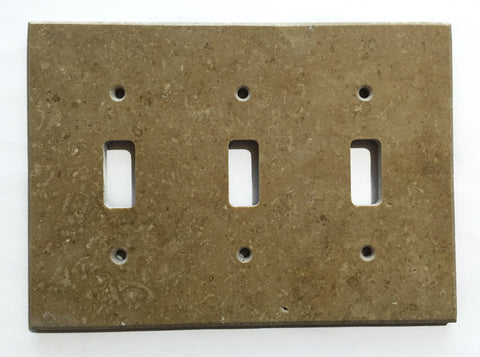 Noce Travertine Triple Toggle Switch Wall Plate / Switch Plate / Cover - Honed - American Tile Depot - Commercial and Residential (Interior & Exterior), Indoor, Outdoor, Shower, Backsplash, Bathroom, Kitchen, Deck & Patio, Decorative, Floor, Wall, Ceiling, Powder Room - 1