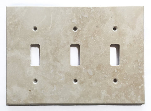 Ivory Travertine Triple Toggle Switch Wall Plate / Switch Plate / Cover - Honed - American Tile Depot - Commercial and Residential (Interior & Exterior), Indoor, Outdoor, Shower, Backsplash, Bathroom, Kitchen, Deck & Patio, Decorative, Floor, Wall, Ceiling, Powder Room - 1