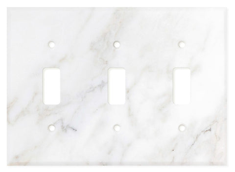 Italian Calacatta Gold Marble Triple Toggle Switch Wall Plate / Switch Plate / Cover - Polished - American Tile Depot - Commercial and Residential (Interior & Exterior), Indoor, Outdoor, Shower, Backsplash, Bathroom, Kitchen, Deck & Patio, Decorative, Floor, Wall, Ceiling, Powder Room - 1