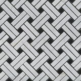 Carrara White Marble Honed Stanza Basketweave Mosaic Tile w/ Black Dots - American Tile Depot - Commercial and Residential (Interior & Exterior), Indoor, Outdoor, Shower, Backsplash, Bathroom, Kitchen, Deck & Patio, Decorative, Floor, Wall, Ceiling, Powder Room - 3