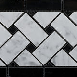 Carrara White Marble Honed Basketweave Border Listello w/ Black Dots - American Tile Depot - Commercial and Residential (Interior & Exterior), Indoor, Outdoor, Shower, Backsplash, Bathroom, Kitchen, Deck & Patio, Decorative, Floor, Wall, Ceiling, Powder Room - 3