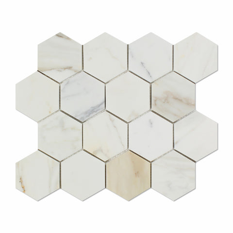 Calacatta Gold Marble 3 Quot Hexagon Mosaic Tile Polished