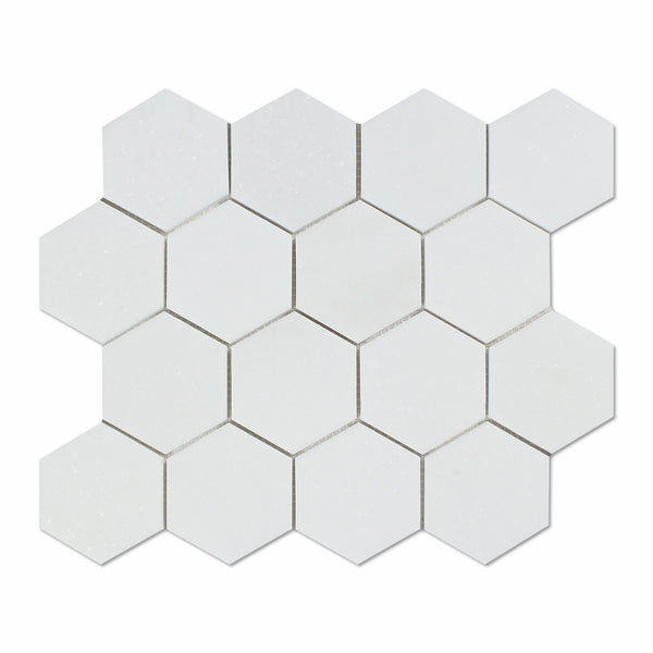 Thassos White Marble 3 Quot Hexagon Mosaic Tile Polished
