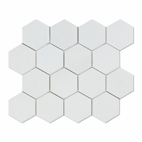 "Thassos White Marble Polished 3"" Hexagon Mosaic Tile - American Tile Depot - Commercial and Residential (Interior & Exterior), Indoor, Outdoor, Shower, Backsplash, Bathroom, Kitchen, Deck & Patio, Decorative, Floor, Wall, Ceiling, Powder Room"
