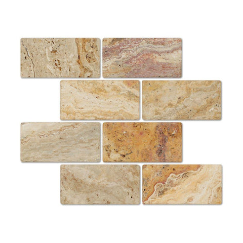3 X 6 Valencia Travertine Tumbled Subway Brick Field Tile