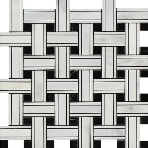 Oriental White / Asian Statuary Marble Polished Triple Weave  Mosaic Tile w / Black Dots