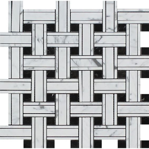 Carrara White Marble Polished Triple Weave  Mosaic Tile w / Black Dots