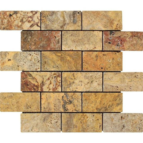 2 X 4 Scabos Travertine Tumbled Brick Mosaic Tile - American Tile Depot - Shower, Backsplash, Bathroom, Kitchen, Deck & Patio, Decorative, Floor, Wall, Ceiling, Powder Room, Indoor, Outdoor, Commercial, Residential, Interior, Exterior