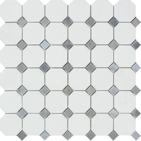 Thassos White Marble Polished Octagon Mosaic Tile w/ Blue Gray Dots
