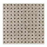 Crema Marfil Marble Polished Pinwheel Mosaic Tile w/ Emperador Dark Dots - American Tile Depot - Commercial and Residential (Interior & Exterior), Indoor, Outdoor, Shower, Backsplash, Bathroom, Kitchen, Deck & Patio, Decorative, Floor, Wall, Ceiling, Powder Room - 4