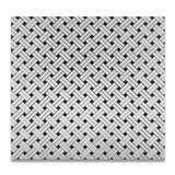 Carrara White Marble Honed Stanza Basketweave Mosaic Tile w/ Black Dots - American Tile Depot - Commercial and Residential (Interior & Exterior), Indoor, Outdoor, Shower, Backsplash, Bathroom, Kitchen, Deck & Patio, Decorative, Floor, Wall, Ceiling, Powder Room - 4