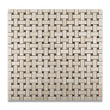Crema Marfil Marble Polished Basketweave Mosaic Tile w/ Emperador Dark Dots - American Tile Depot - Commercial and Residential (Interior & Exterior), Indoor, Outdoor, Shower, Backsplash, Bathroom, Kitchen, Deck & Patio, Decorative, Floor, Wall, Ceiling, Powder Room - 4
