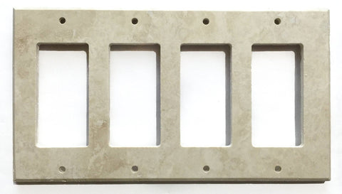 Ivory Travertine Quadruple Rocker Switch Wall Plate / Switch Plate / Cover - Honed - American Tile Depot - Commercial and Residential (Interior & Exterior), Indoor, Outdoor, Shower, Backsplash, Bathroom, Kitchen, Deck & Patio, Decorative, Floor, Wall, Ceiling, Powder Room - 1