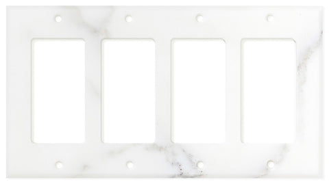 Italian Calacatta Gold Marble Quadruple Rocker Switch Wall Plate / Switch Plate / Cover - Polished - American Tile Depot - Commercial and Residential (Interior & Exterior), Indoor, Outdoor, Shower, Backsplash, Bathroom, Kitchen, Deck & Patio, Decorative, Floor, Wall, Ceiling, Powder Room - 1