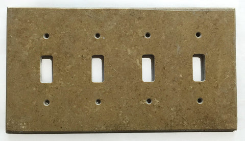 Noce Travertine Quadruple Toggle Switch Wall Plate / Switch Plate / Cover - Honed - American Tile Depot - Commercial and Residential (Interior & Exterior), Indoor, Outdoor, Shower, Backsplash, Bathroom, Kitchen, Deck & Patio, Decorative, Floor, Wall, Ceiling, Powder Room - 1