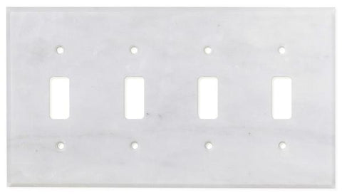 Italian Carrara White Marble Quadruple Toggle Switch Wall Plate / Switch Plate / Cover - Polished