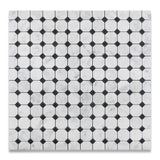 Carrara White Marble Honed Octagon Mosaic Tile w/ Black Dots - American Tile Depot - Commercial and Residential (Interior & Exterior), Indoor, Outdoor, Shower, Backsplash, Bathroom, Kitchen, Deck & Patio, Decorative, Floor, Wall, Ceiling, Powder Room - 4