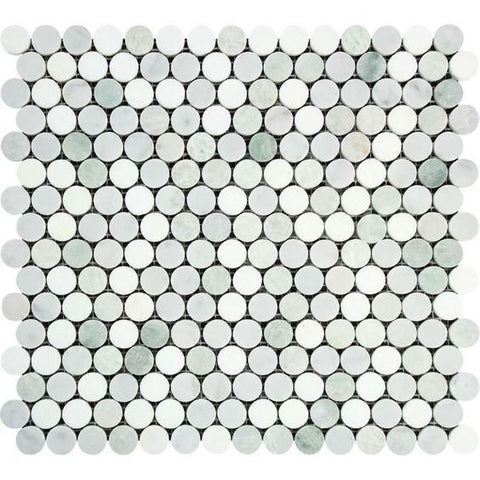Thassos White Marble Honed Penny Round Mosaic Tile w/ Ming Green Dots