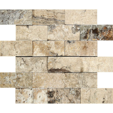 2 X 4 Philadelphia Travertine  Split-Faced Brick Mosaic Tile - American Tile Depot - Shower, Backsplash, Bathroom, Kitchen, Deck & Patio, Decorative, Floor, Wall, Ceiling, Powder Room, Indoor, Outdoor, Commercial, Residential, Interior, Exterior