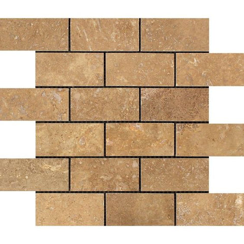 2 X 4 Noce Travertine Filled & Honed Brick Mosaic Tile - American Tile Depot - Shower, Backsplash, Bathroom, Kitchen, Deck & Patio, Decorative, Floor, Wall, Ceiling, Powder Room, Indoor, Outdoor, Commercial, Residential, Interior, Exterior
