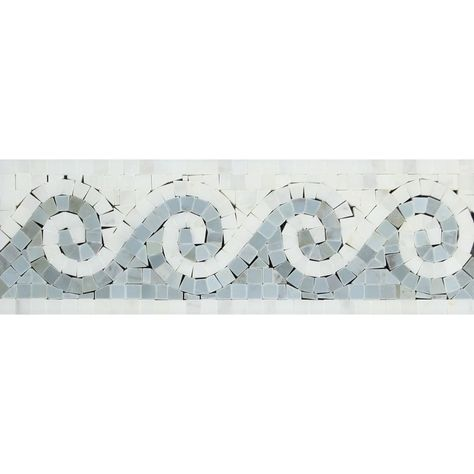 Oriental White Marble Honed Wave Border w / Blue-Gray Dots