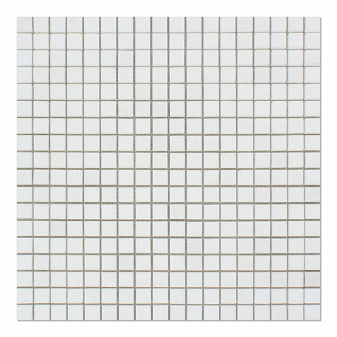 5/8 X 5/8 Thassos White Marble Polished Mosaic Tile - American Tile Depot - Commercial and Residential (Interior & Exterior), Indoor, Outdoor, Shower, Backsplash, Bathroom, Kitchen, Deck & Patio, Decorative, Floor, Wall, Ceiling, Powder Room
