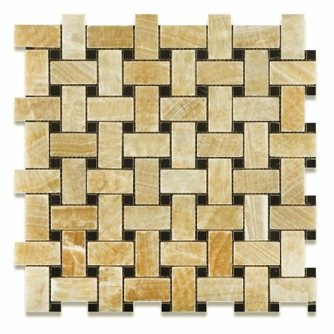 Honey Onyx Polished Basketweave Mosaic Tile w / Black Dots
