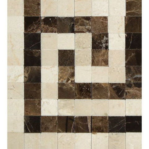 Crema Marfil Marble Polished Greek Key Border Corner Listello w/ Emperador Dark Dots