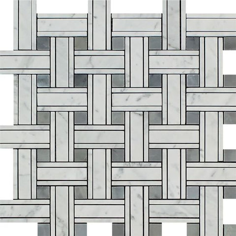 Carrara White Marble Polished Triple Weave  Mosaic Tile w / Blue Gray Dots