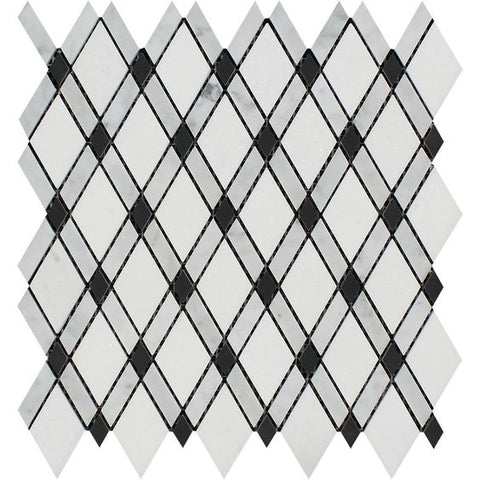 Carrara White Marble Polished Lattice Mosaic Tile w / Black Dots