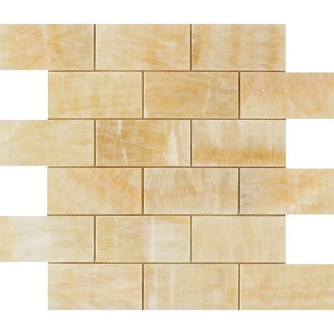 2 X 4 Honey Onyx Polished Brick Mosaic Tile - American Tile Depot - Shower, Backsplash, Bathroom, Kitchen, Deck & Patio, Decorative, Floor, Wall, Ceiling, Powder Room, Indoor, Outdoor, Commercial, Residential, Interior, Exterior
