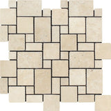 Ivory Travertine Tumbled Mini Versailles Mosaic Tile