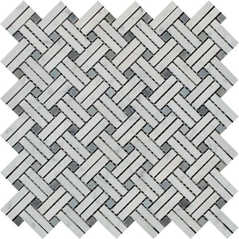 Carrara White Marble Honed Stanza Basketweave Mosaic Tile w/ Blue Gray Dots