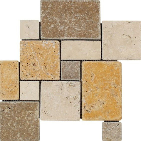 Mixed Travertine 4-Pieced OPUS Mini-Pattern Tumbled Mosaic Tile